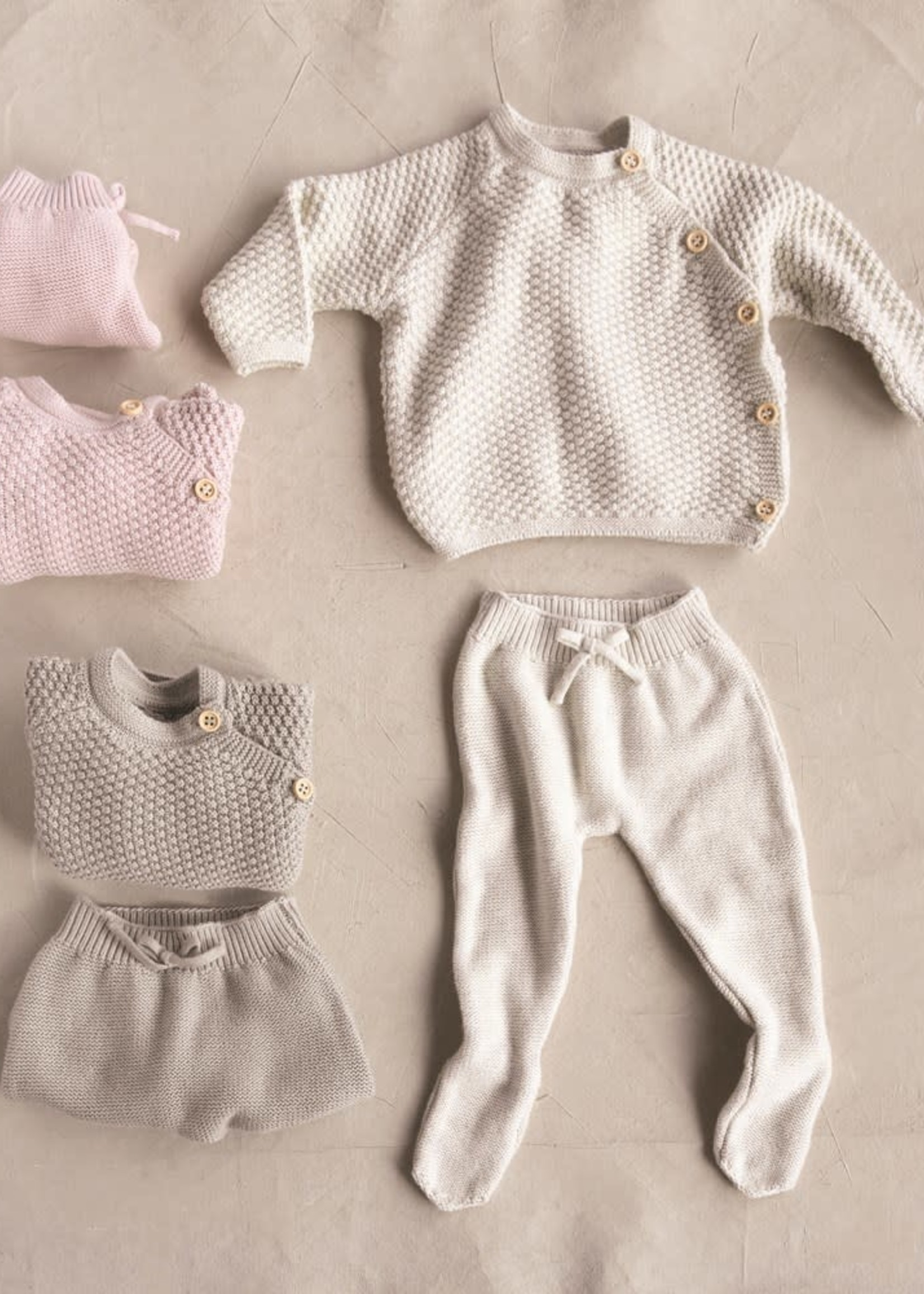 Creative Co-Op Cotton Knit Baby 2 piece Grey
