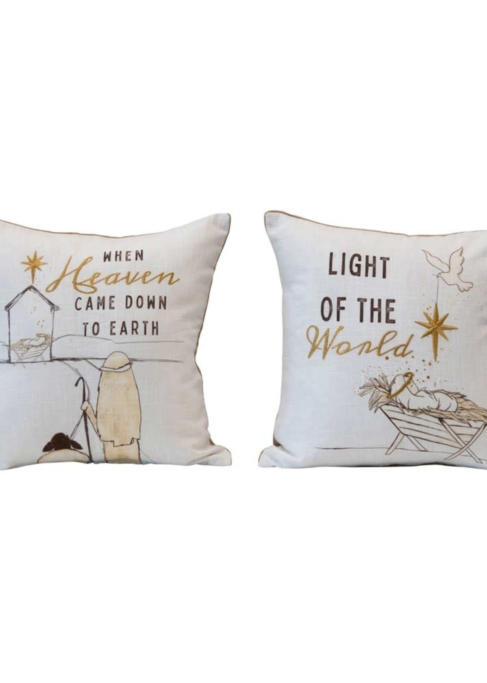 """Creative Co-Op 16"""" Square Cotton Pillow Light of the World"""