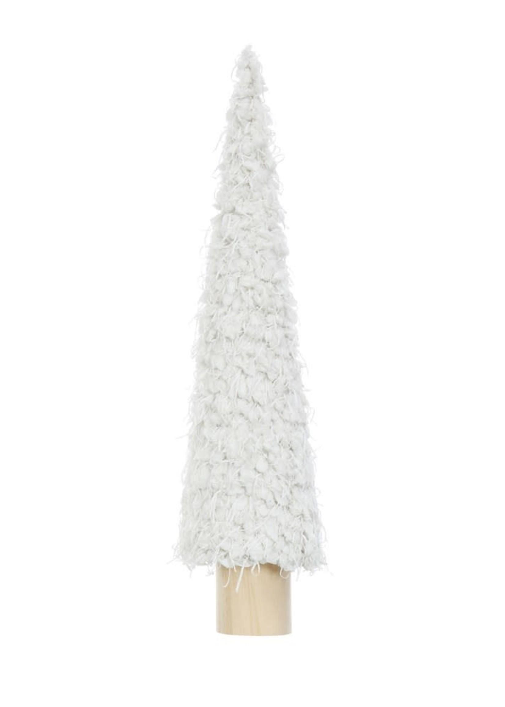 "Creative Co-Op 4-1/4"" Round x 19""H Fabric Cone Tree on Wood Base, Cream"