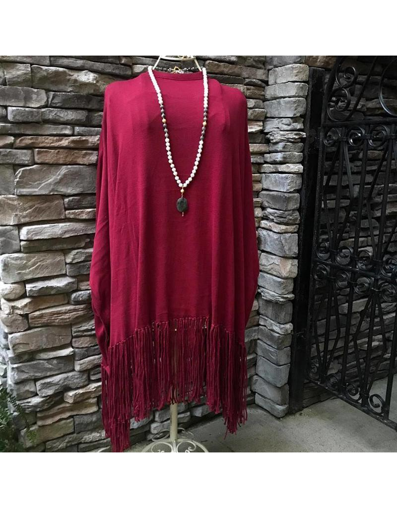Tag Ltd Fringe Poncho Red