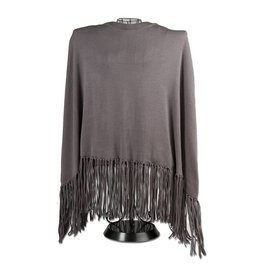 Tag Ltd Fringe Poncho Grey