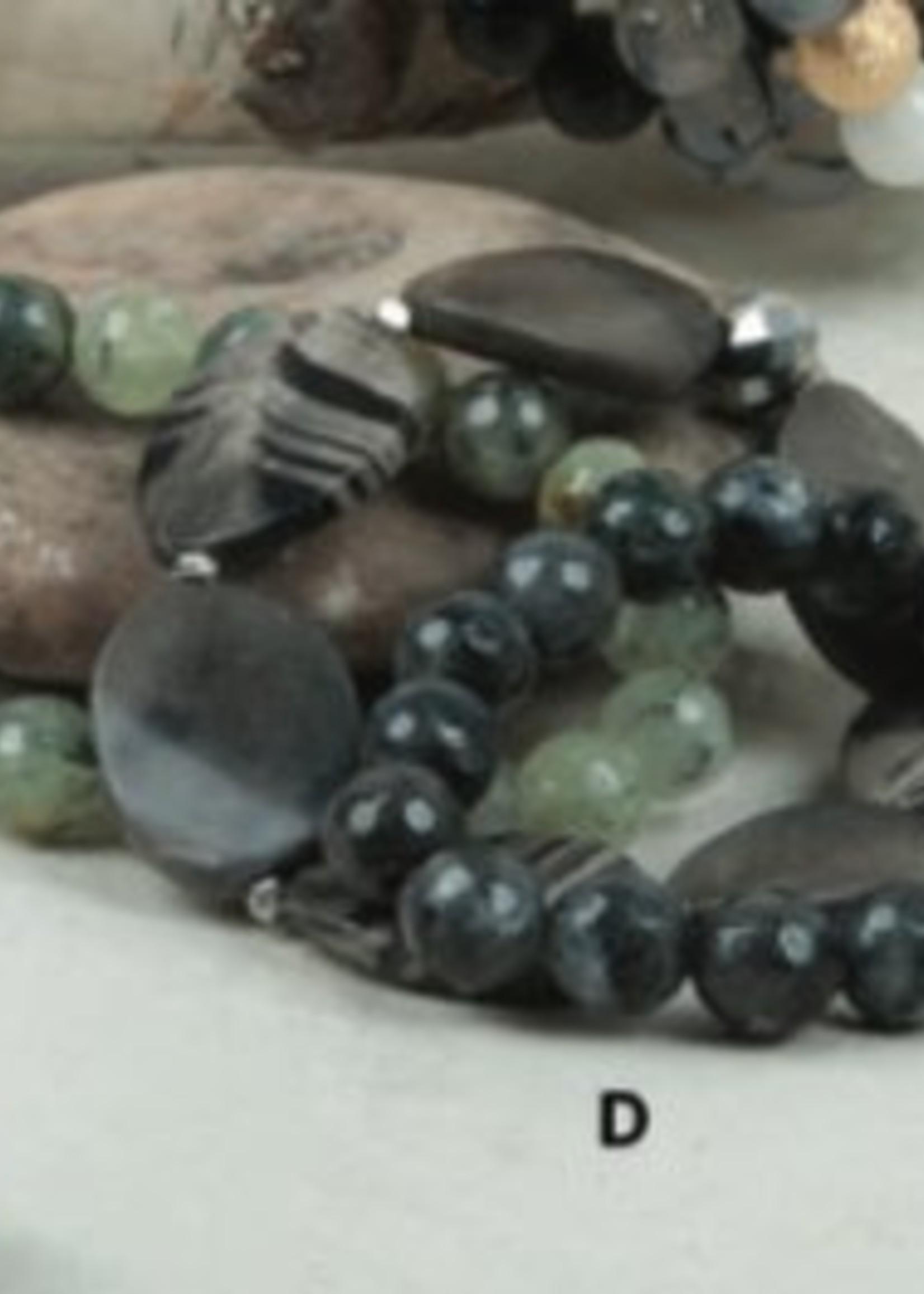 Ali & Bird Black Silk Jasper, Labradorite, Tourmaline Bracelet Set/3