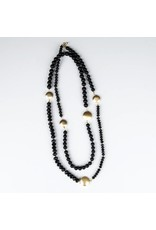 Ali & Bird Long Beaded Necklace - Black & Gold