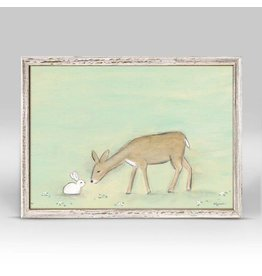 Greenbox Art 5x7 Mini Framed Canvas Bunny and the Deer