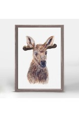 Greenbox Art 5x7 Mini Framed Canvas Moose Portrait