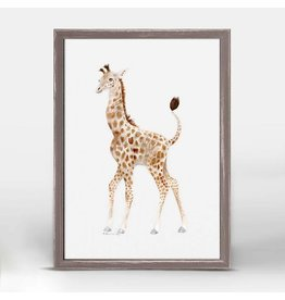 Greenbox Art 5x7 Mini Framed Canvas Standing Baby Giraffe