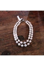 Ali & Bird Double Strand Large Pearl Necklace, Magnet Clasp