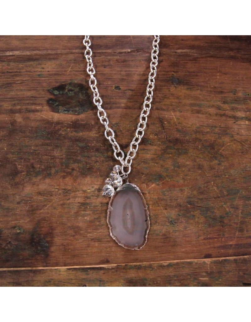 Agate Necklace, Silver Plated Chain