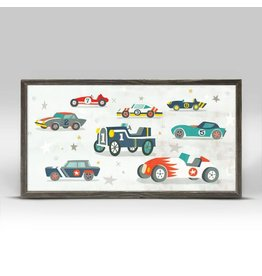 Greenbox Art 5x10 Mini Framed Canvas Vintage Racecar