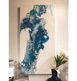 Scott Ellis Blue & Copper Acrylic Pour 12x24