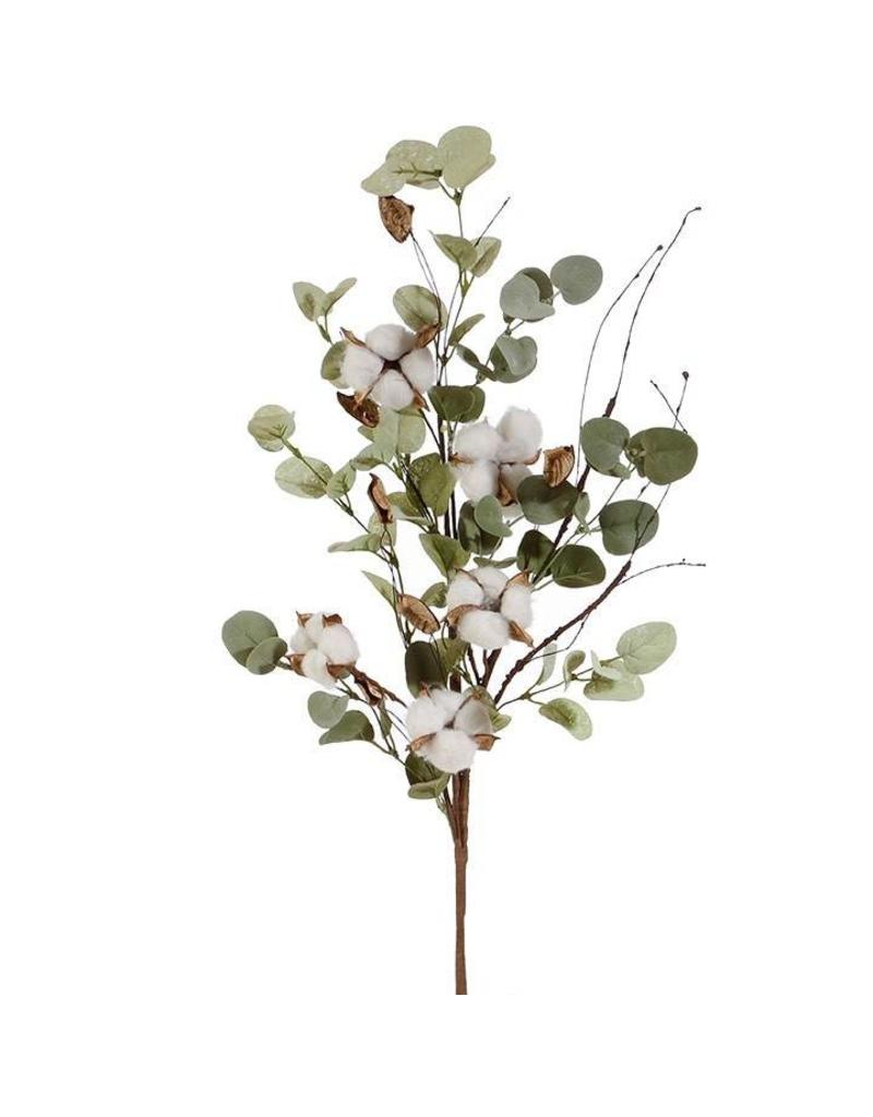 "Oak & Willow 33"" Eucalyptus & Cotton Stem"
