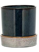 Bloomingville Black Stoneware Flower Pot w/ Saucer