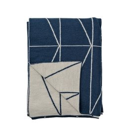 Bloomingville Knitted Wool Throw w/ Zig Zag Print