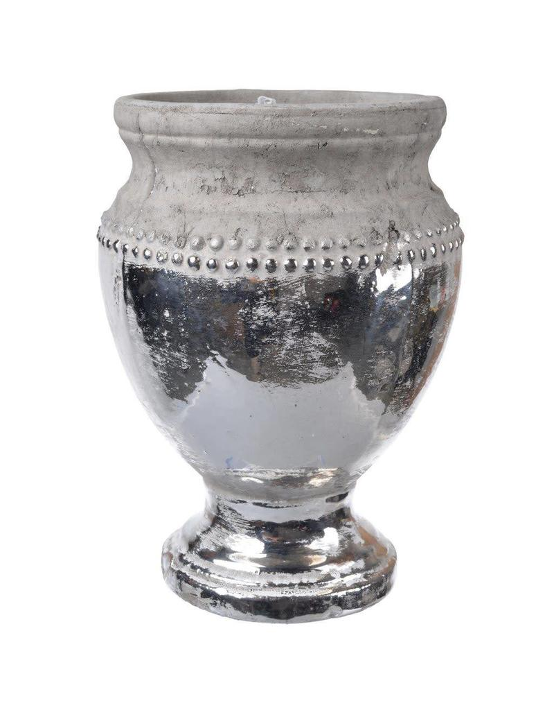 A&B Home Cement & Silver Pot Large