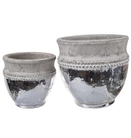 A&B Home Cement & Silver Pot Small