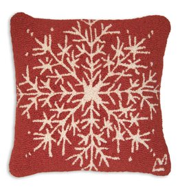 Chandler 4 Corners Alpine Snowflake Hooked Pillow 18""