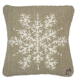 Chandler 4 Corners Khaki Flake Hooked Wool Pillow