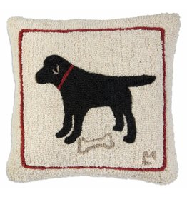 Chandler 4 Corners Snack Time Black Lab Hooked Wool Pillow