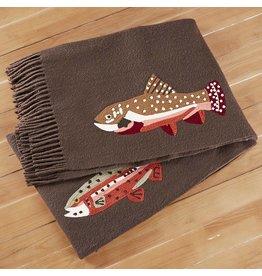 Chandler 4 Corners Trout on Brown Wool Throw Blanket