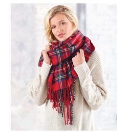Mud Pie Ava Tartan Scarf Wrap Red