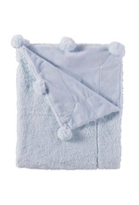 Mud Pie Blue Pom Pom Blanket