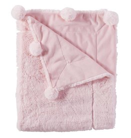 Mud Pie Pink Pom Pom Blanket