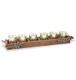 Oak Leaf Wood Votive Holder Set