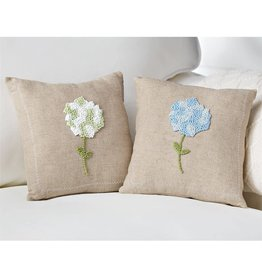 Mud Pie Blue Hydrangea Pillow 9.5""