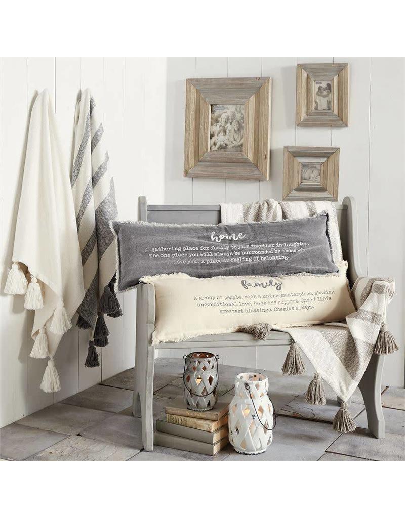 Mud Pie Grey Tassel Throw Blanket
