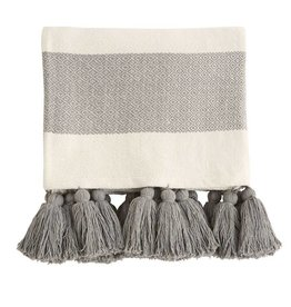 Mud Pie Grey Tassel Throw Blanket