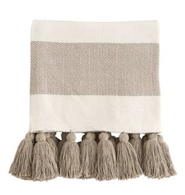 Mud Pie Tan Tassel Throw Blanket