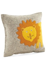"""Arcadia Home Hand-Felted Lion Pillow 18"""""""