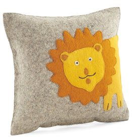 Arcadia Home Hand-Felted Lion Pillow 18""