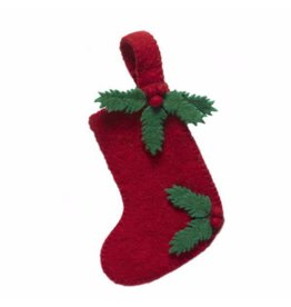 "Arcadia Home Hand-Fleted Small Holly Leaf Stocking 10""x6"""