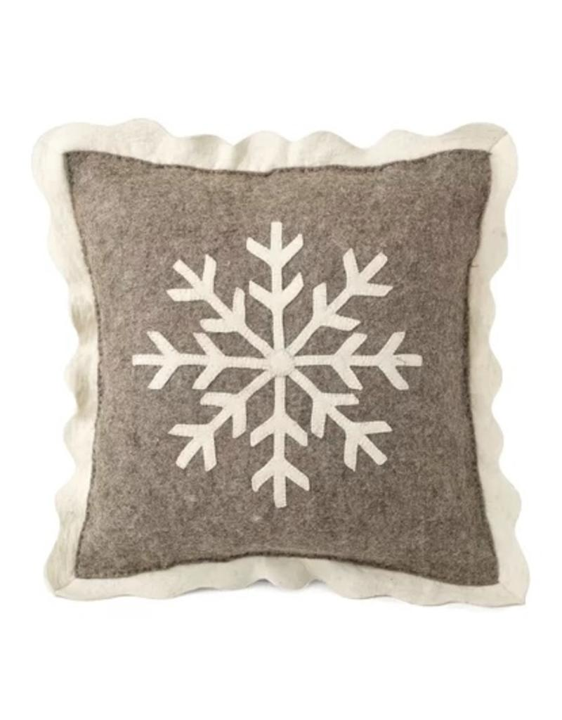 Arcadia Home Hand-Felted Big Snowflake Pillow 20x20