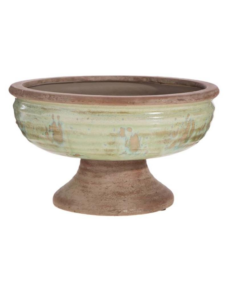 "10"" Distressed Pedestal Bowl"