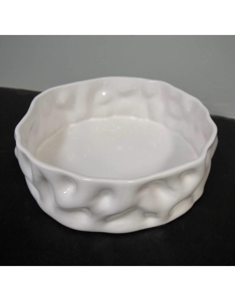"Alex Marshall Pottery 14"" Ripple Bowl Gloss White"