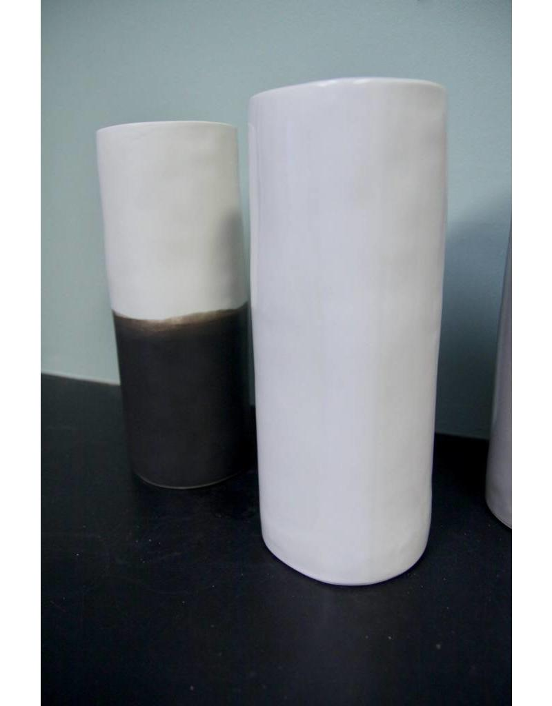 Alex Marshall Pottery Small Cylinder Vase Charcoal & Matte White