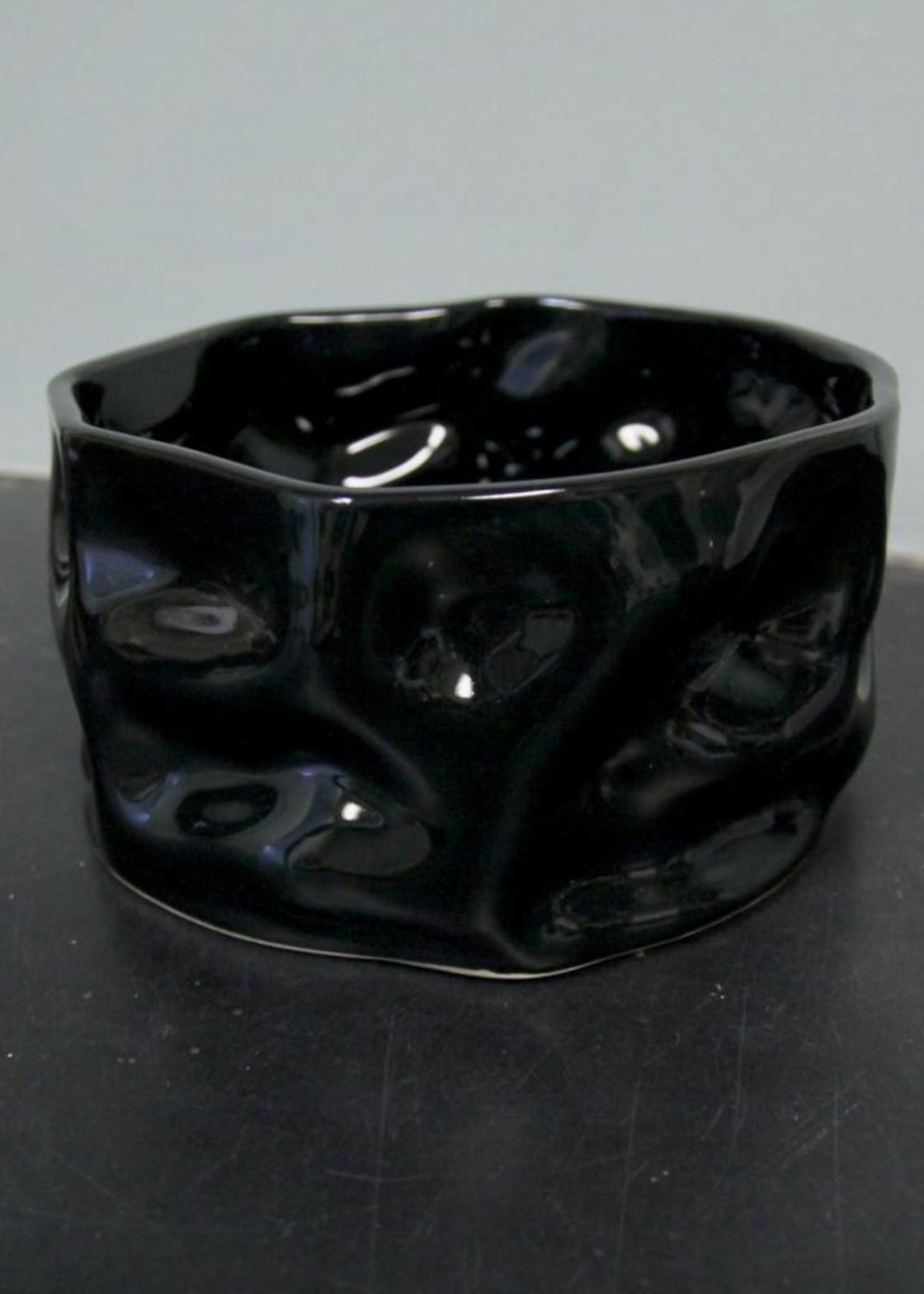 "Alex Marshall Pottery 8"" Ripple Bowl Gloss Black"