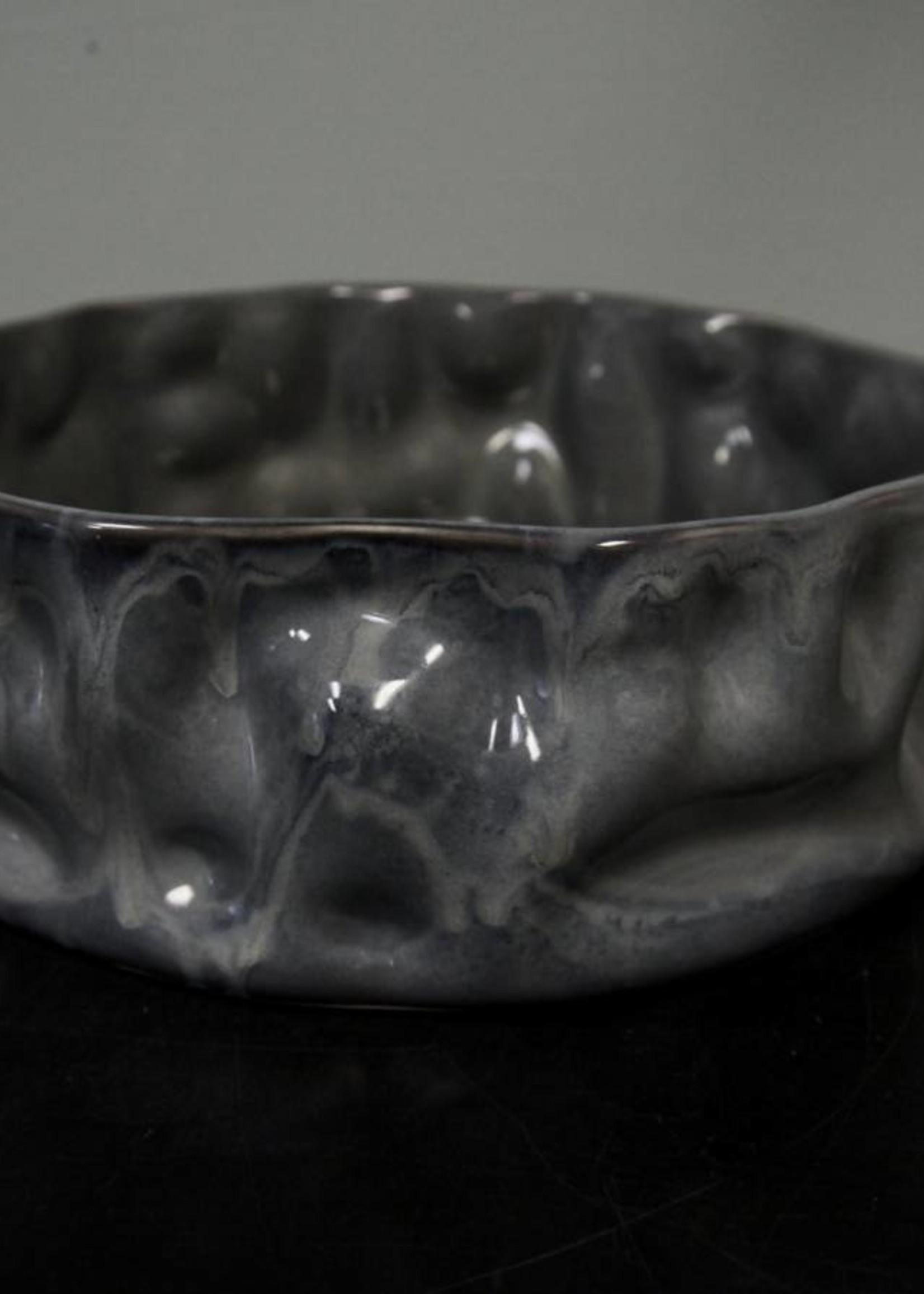 "Alex Marshall Pottery 14"" Ripple Bowl Blue Grey"