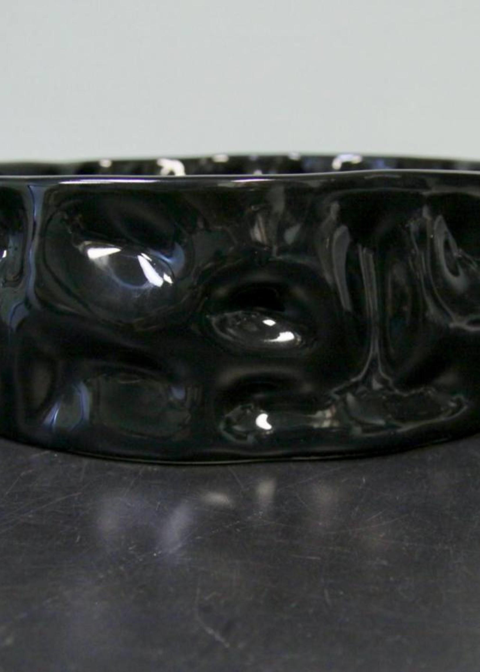 "Alex Marshall Pottery 14"" Ripple Bowl Gloss Black"