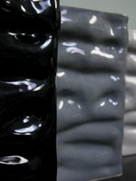 Alex Marshall Pottery Tall Rectangle Ripple Vase Blue Grey