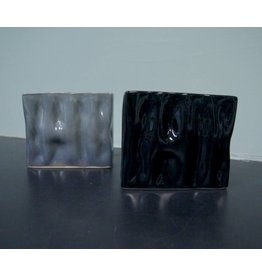 Alex Marshall Pottery Mini Rectangle Ripple Vase Blue Grey