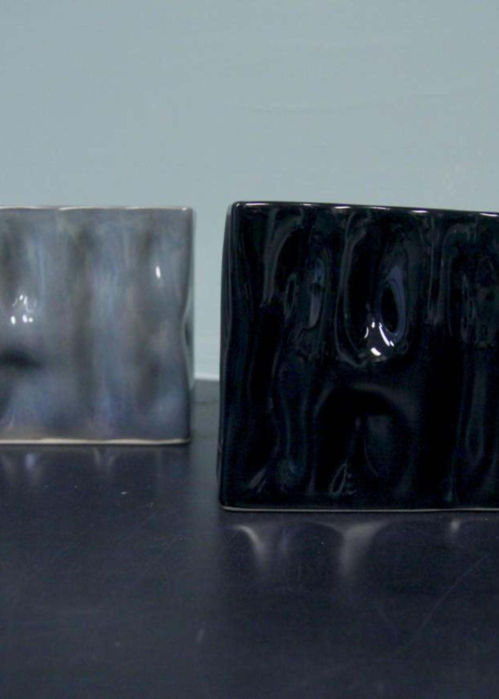 Alex Marshall Pottery Mini Rectangle Ripple Vase Gloss Black