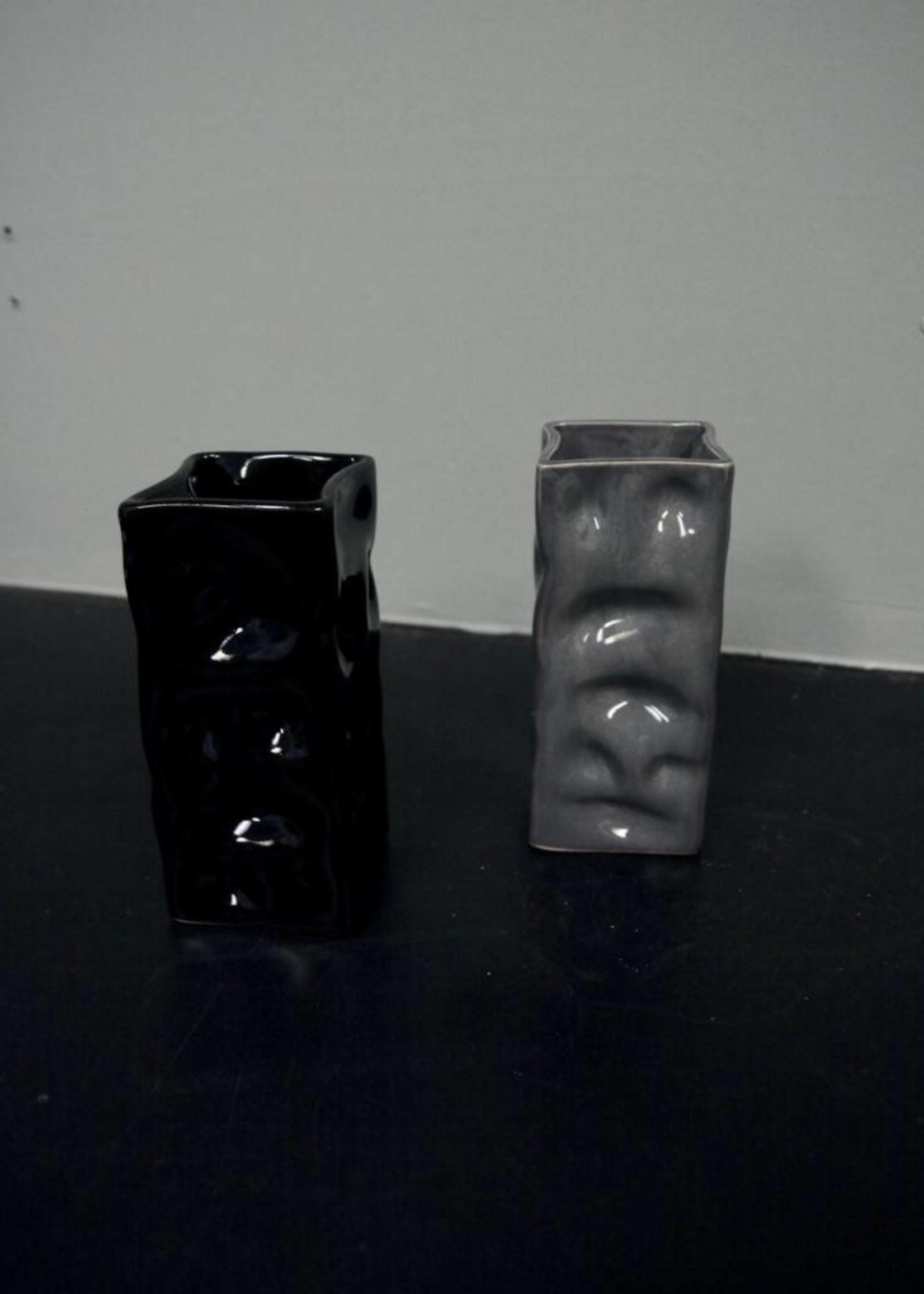 Alex Marshall Pottery Mini Square Ripple Vase Gloss Black