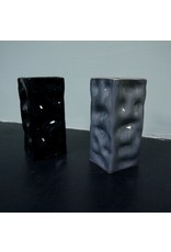Alex Marshall Pottery Mini Square Ripple Vase Gloss Black