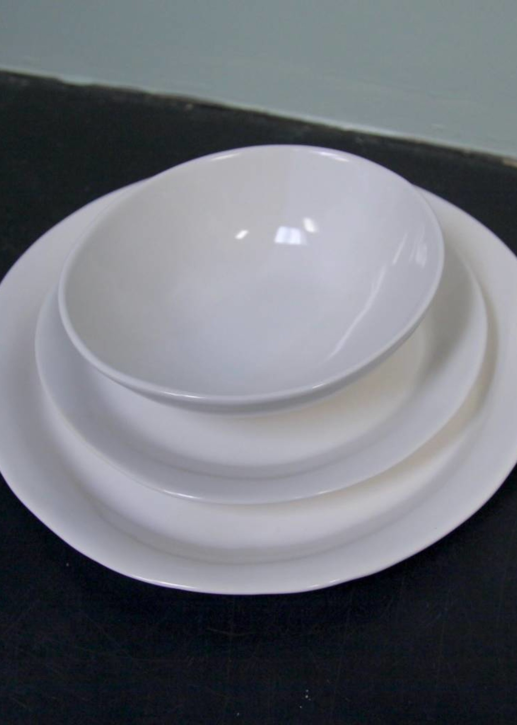 "Alex Marshall Pottery 11.25"" Slim Round Dinner Gloss White"