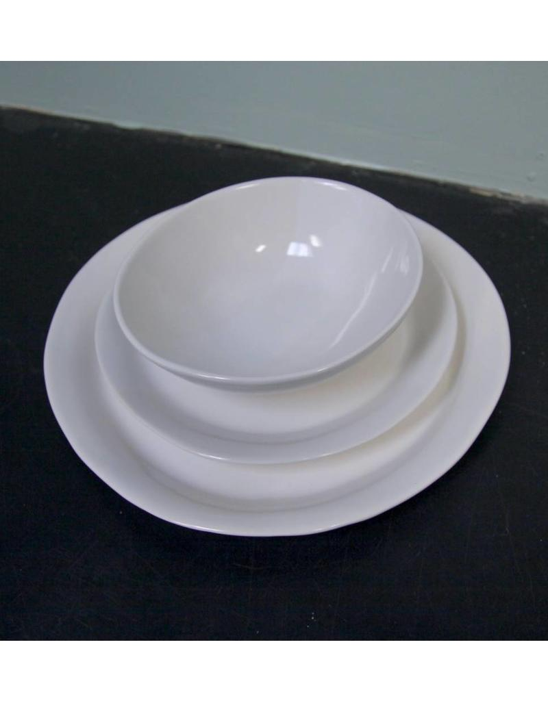 "Alex Marshall Pottery 11.25"" Slim Round Dinner Gloss White"