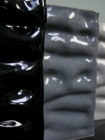Alex Marshall Pottery Tall Rectangle Ripple Vase Gloss Black