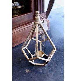 "Gold 12"" Lantern Tealight Holder Pentagons"